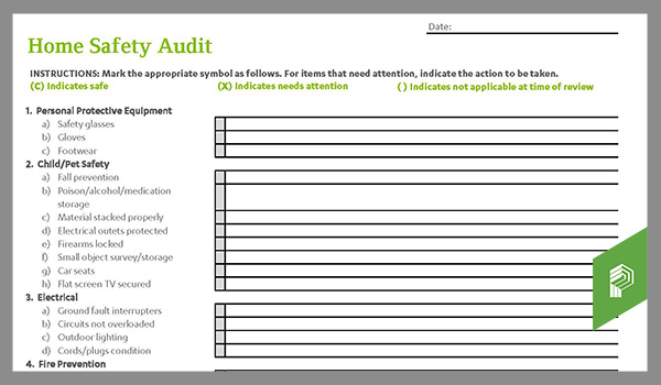 Home safety audit checklist