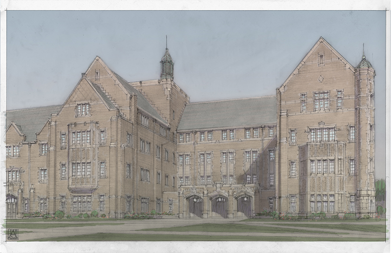 Notre Dame Jenkins and Nanovic Halls rendering