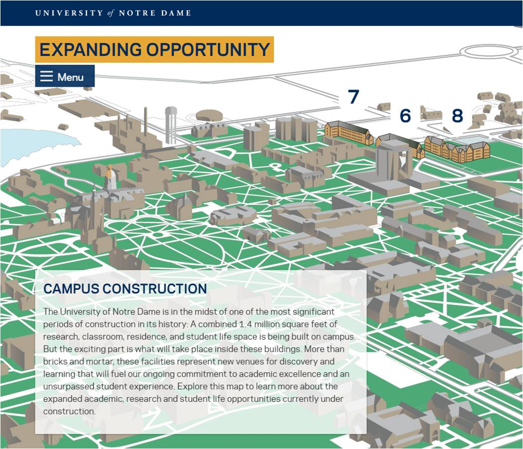 map of Notre Dame campus projects