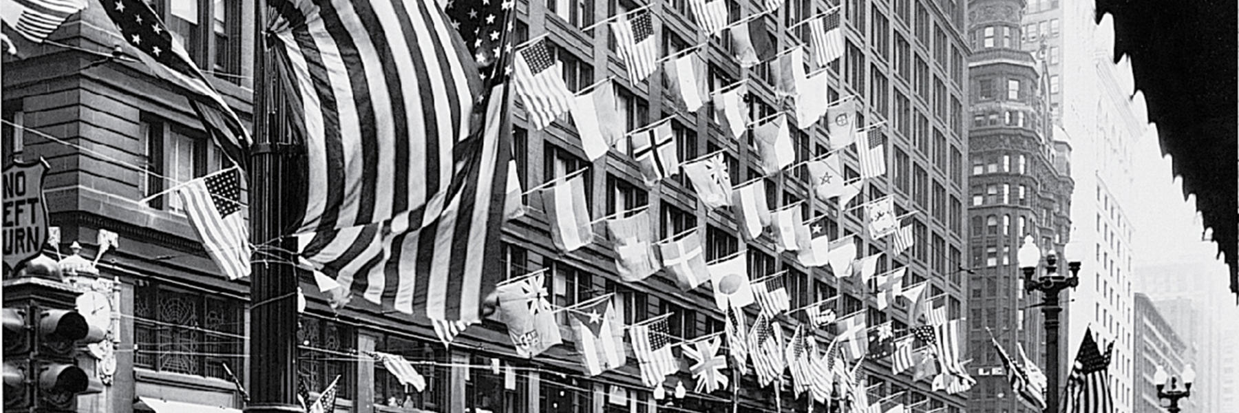 Marshall Field's exterior with flags