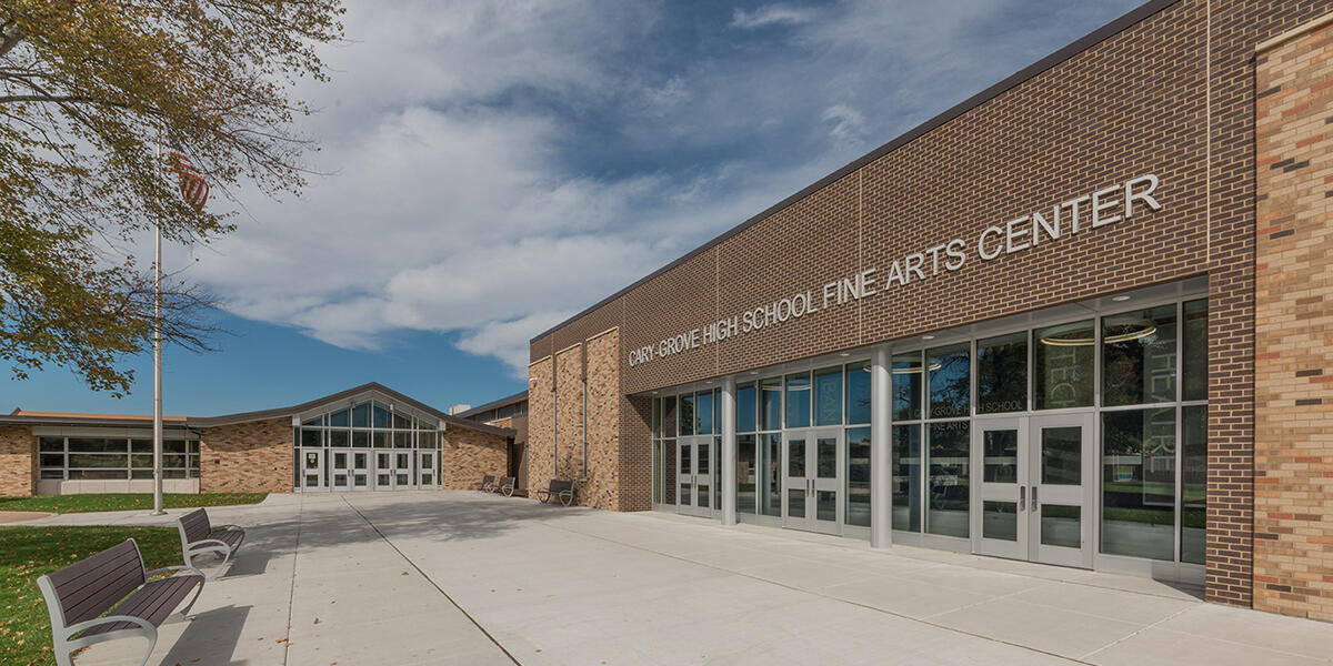Exterior of the new performing arts space at Cary-Grove High School