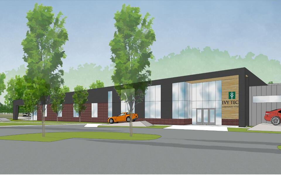 Ivy Tech Community College, ITCC, Auto, renderings, Main Entrace